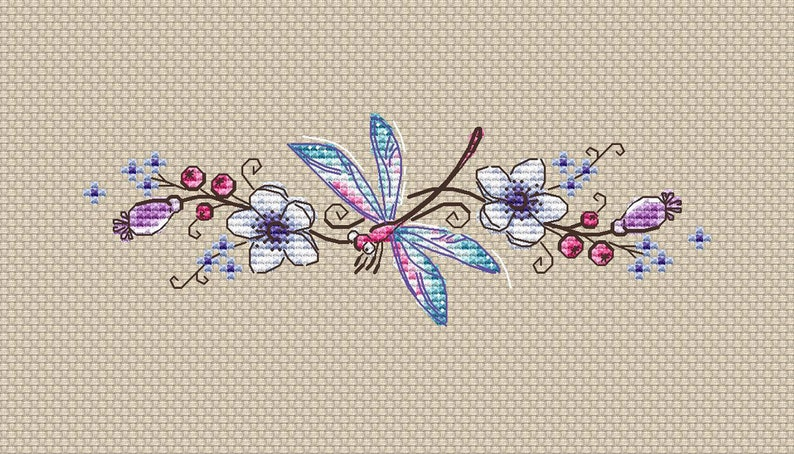 Dragonfly cross stitch pattern Instant download pdf Dragonfly image 0
