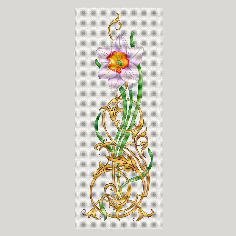 Daffodil cross stitch pattern flower instant download pdf pattern room  decor Daffodil pattern cross stitch gift for her beautiful daffodil