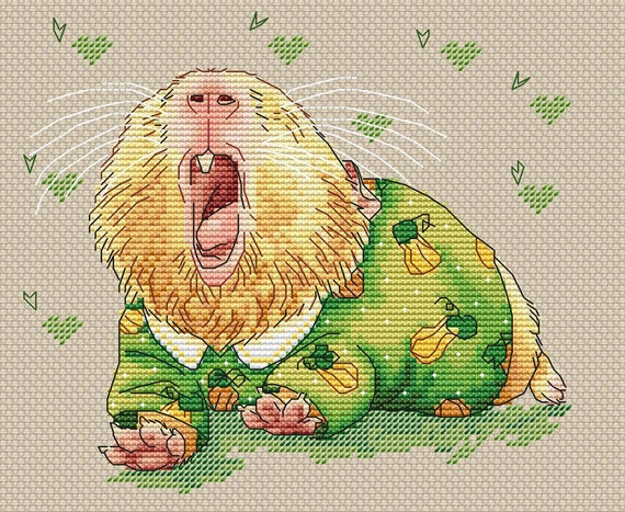 Sleepy Guinea Pig Cross Stitch Pattern Guinea Pig Instant Etsy