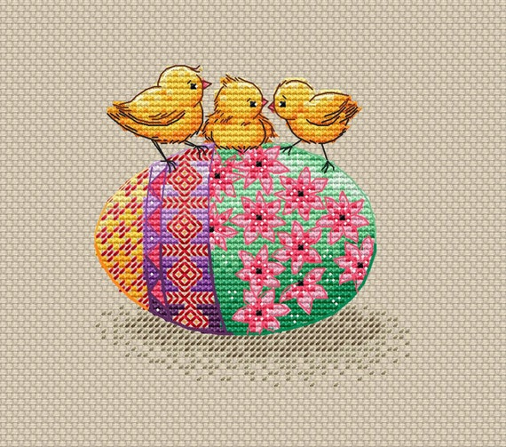 Easter Chicks And Egg PDF Cross Stitch Pattern Colorful Easter Etsy Delectable Printable Cross Stitch Patterns