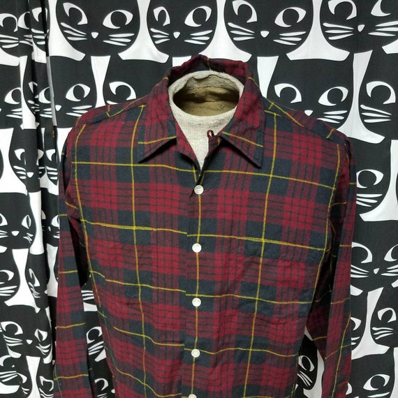 Vintage Viyella Wool Loop Collar Button Down Plaid Wool Shirt Etsy