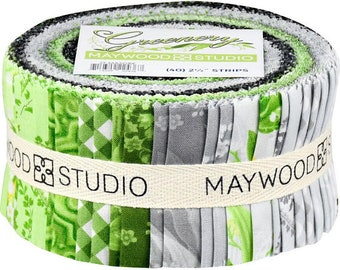 "Maywood Studio Greenery Jelly Roll 2.5"" strips"