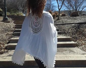 Kimono. Ivory crochet kimono.  festival, lace hippie. Gypsy Kaftan. Popular items. Chiffon. Knit kimono. Gift for women