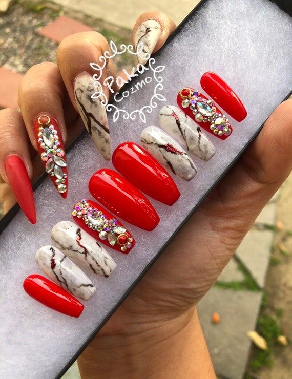 Press on nails Ferrari red & marble nails | Etsy