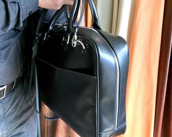 Genuine leather briefcase Large leather messenger bag Laptop bag Leather office bag Business bag Shoulder bag Small duffel Satchel Work bag