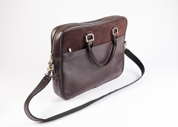 50df03dbc2 Leather dark brown briefcase slim leather laptop bag mens