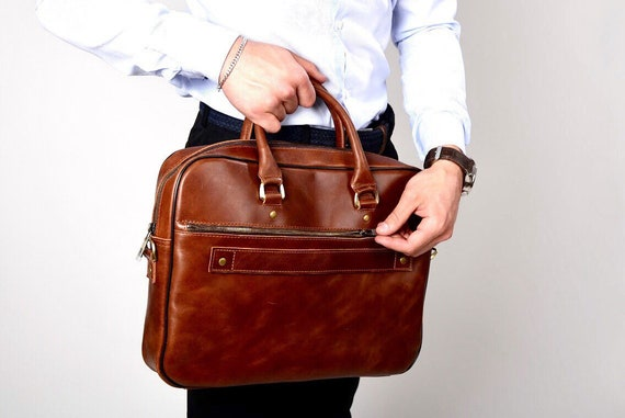 Leather Briefcase Dark Brown Leather unisex bag Leather Bag Leather Briefcase Men bag Gift For Men Laptop Business Bag Gift For Him