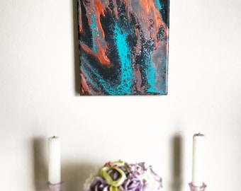 Monarch - Acrylic Painting - 8x10 - Canvas - Fluid Art - Original - One of a kind - Staple Back - Acid free