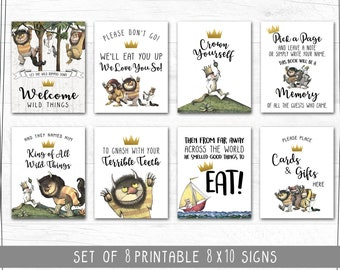 Where The Wild Things Are Party Signs | Wild One | Set of 8 Includes 8x10, 5x7 & 4x6 | Instant Download | Printable Posters