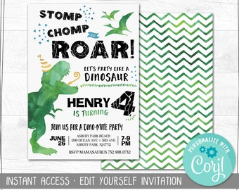 Edit Yourself Dinosaur Birthday Invitation