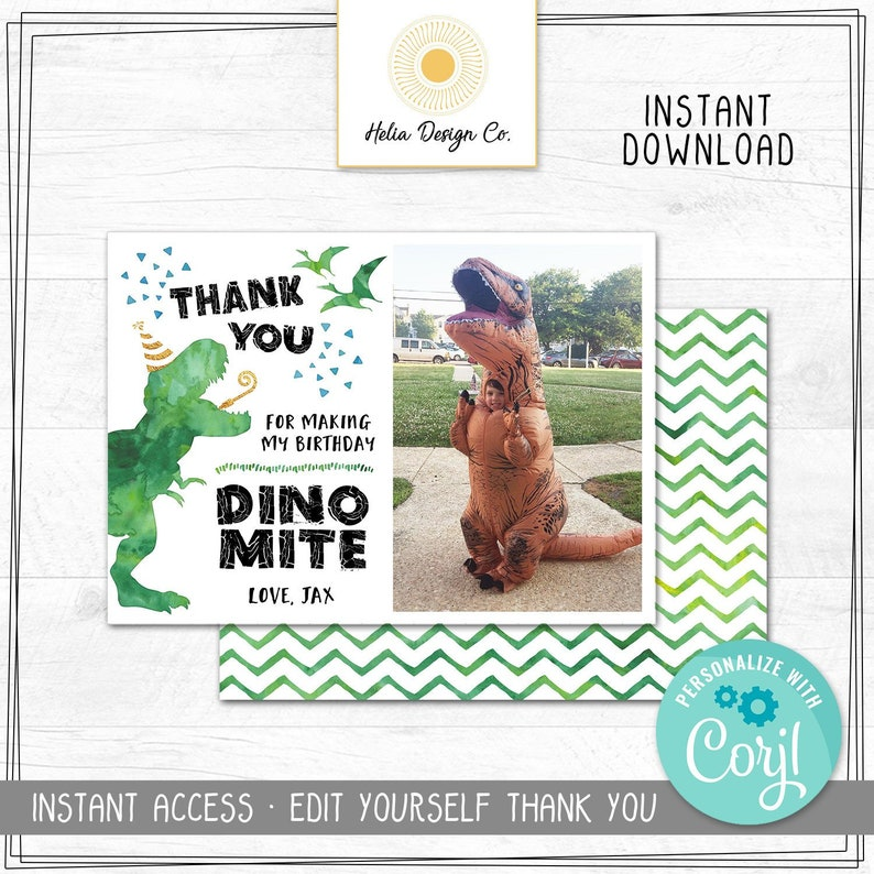 T-Rex Thank You Edit Yourself Dinosaur Thank You Card Instant Digital Download Corjl.com Photo Thank You Card NEW