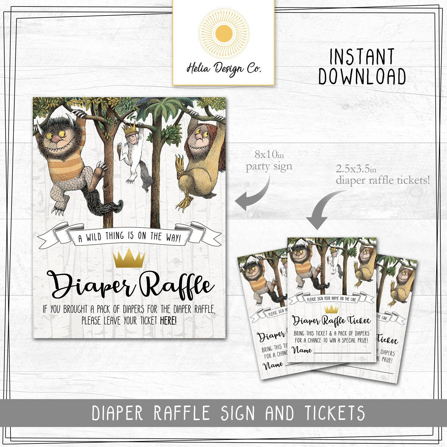 NEW! Diaper Raffle Tickets and Sign | Where the Wild Things Are | Baby  Shower | Instant Digital Download | Printable DIY