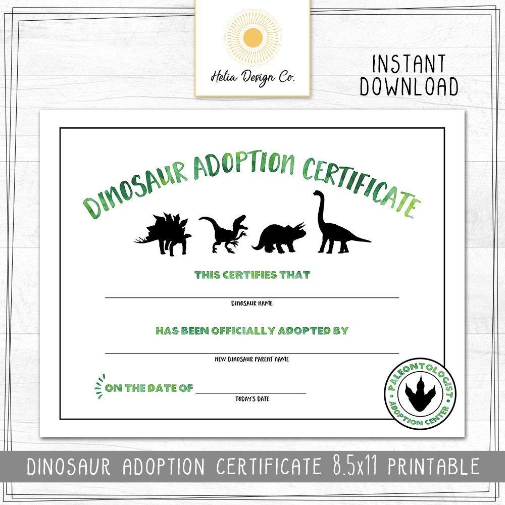 New Dinosaur Birthday Adoption Certificate 8 5x11 Digital Etsy