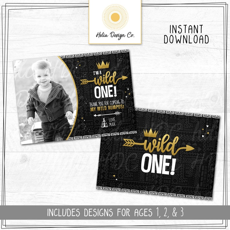 Photo Thank You Instant Download Personalized Wild One Birthday Tribal Wild One Thank You Card Edit Yourself