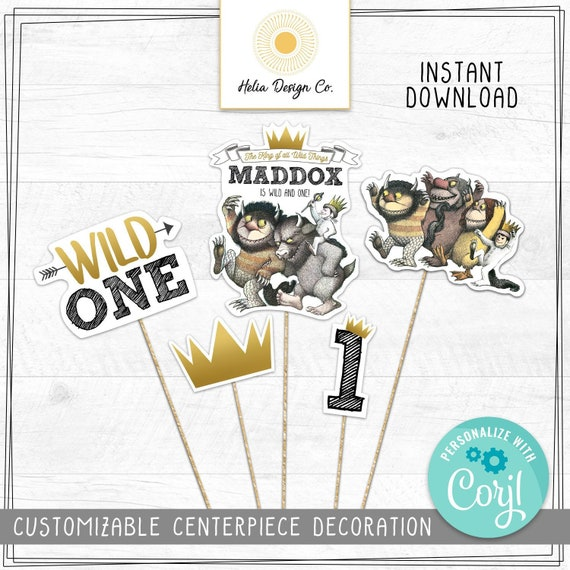 Photo Thank You Card Edit Yourself Corjl Instant Download Photo Where The Wild Things Are First Birthday Party Package Wild One