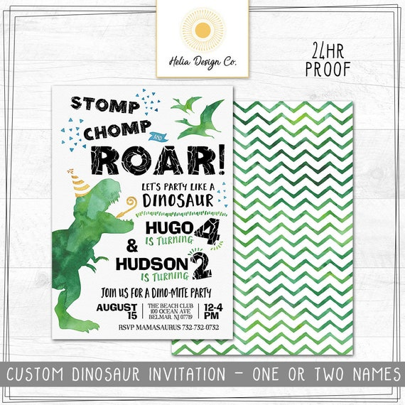 Custom Dinosaur Birthday Invitation
