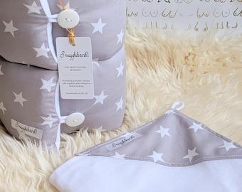 Snuggleband and muslin baby feeding armband support pillow cushion breastfeeding pillow nursing pillow unisex new baby gift set grey stars