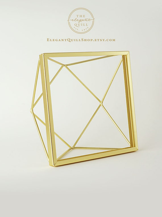 Double Glass Picture Frame Gold Photo Frame Geometric Etsy