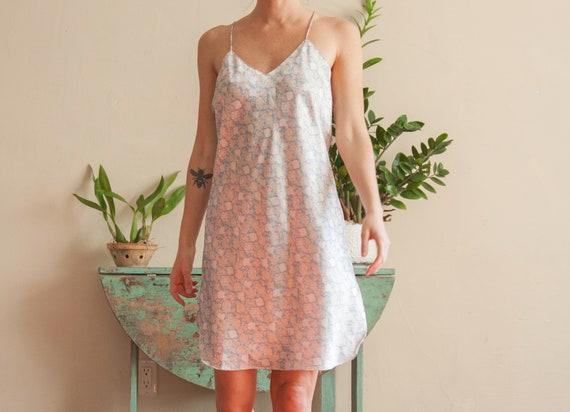 Floral Satin Slip Dress, Pastel Flower Pattern Sl… - image 1