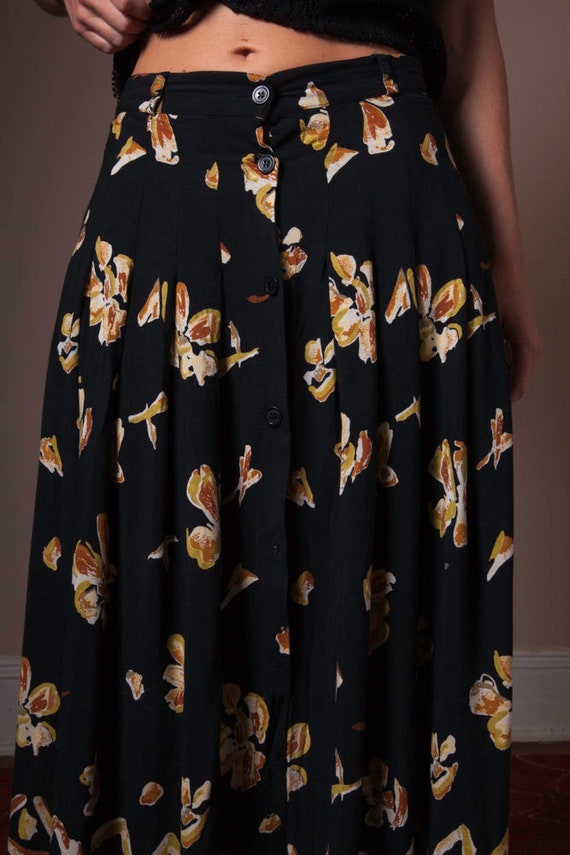 Vintage 90's Button Up Printed Skirt, Abstract Vi… - image 6