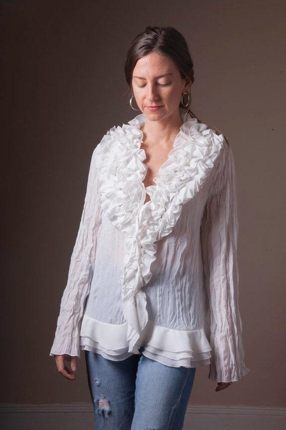 Vintage White Ruffled 90's Blouse, Sheer Vintage … - image 7