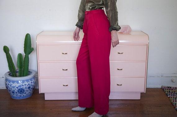 High Waisted Fuchsia Silk Pleated Pants