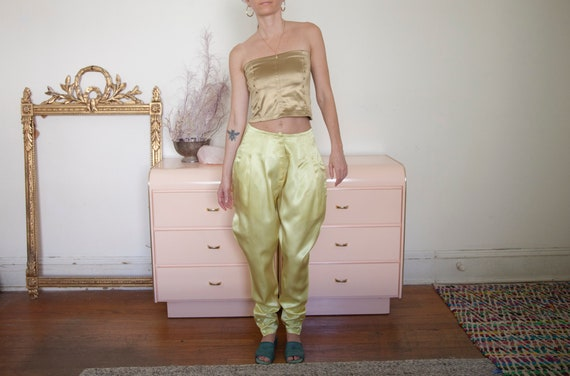 80's Yellow Satin Riding Pants