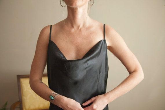 Long Black Drape Neck Slip Dress
