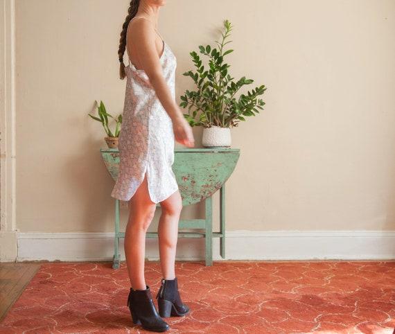 Floral Satin Slip Dress, Pastel Flower Pattern Sl… - image 4