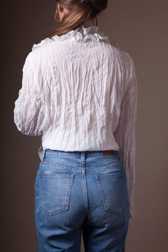 Vintage White Ruffled 90's Blouse, Sheer Vintage … - image 5