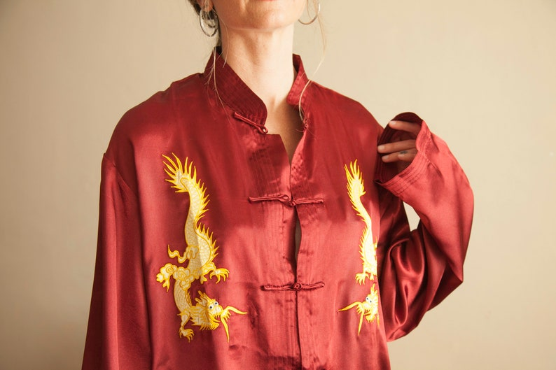 b2c85f6bfadb6d Rouge Satin Button Up with Gold Dragons Red Silk Dragon | Etsy
