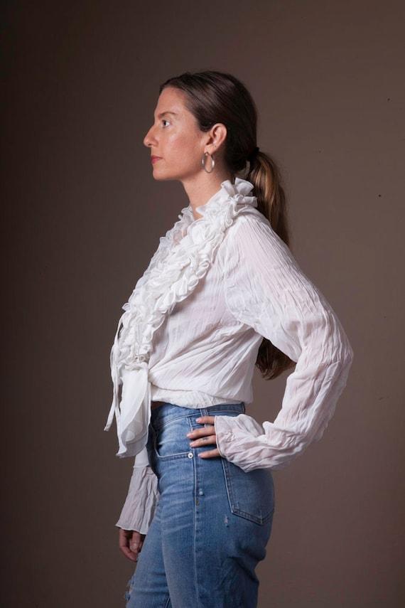 Vintage White Ruffled 90's Blouse, Sheer Vintage … - image 3