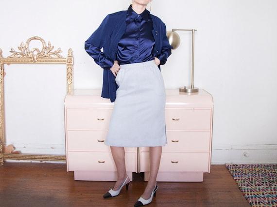 Oversized Vintage Navy Blue Short Sleeve Mandarine