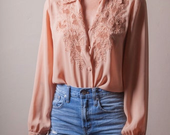 Vintage 70's Embroidered Pink Blouse, Long Sleeve Floral Blouse