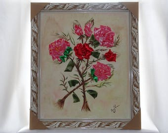 Embroidered Flowers on Canvas