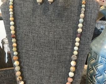 2 Piece Multi Quartz Gemstone Necklace and Earrings