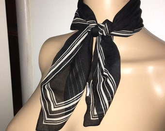 Vintage Black And White Neck Scarf 1970s 1980s