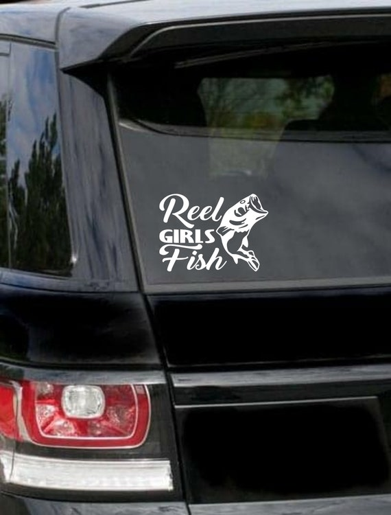 Vinyl Decal Truck Car Sticker Laptop Hunting Fishing Reel Girls Fish Heart