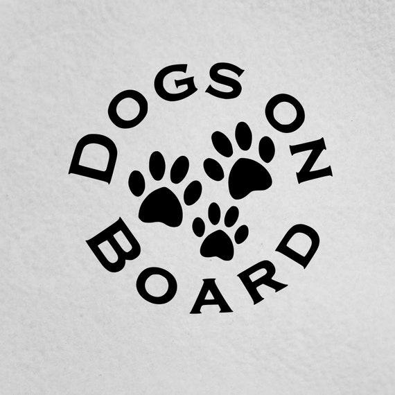 Online Design DOGS ON BOARD Car Bumper Sticker Decal vinyl DOG PAW