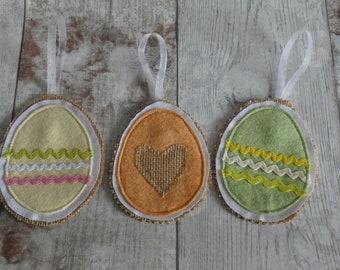 Felt & Hessian Easter Eggs, Easter, Celebration, Yellow, Green, Orange, Decoration, Handmade, Wool