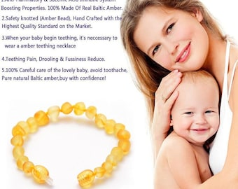 Genuine Amber Bracelet/anklet Child-adult Knotted Beads Sizes 13-25 Cm Baby Earrings