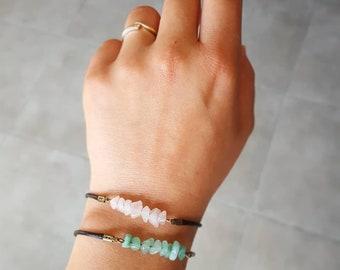 Bracelet pierres et coton cirė