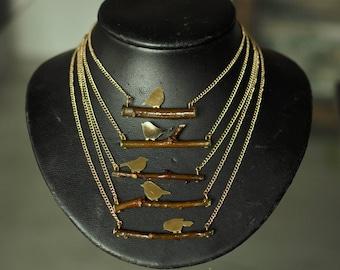 Bird on branch necklace