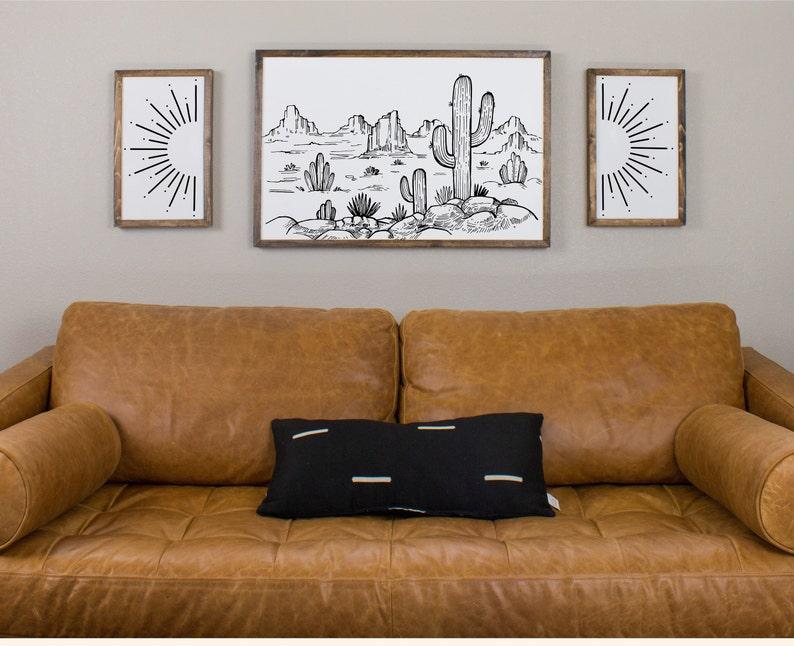 Cactus Desert Sun Burst Wall Art Wooden Wall Decor Wood Signs For Wall Decor Framed Desert Print Aztec Boho Wall Art