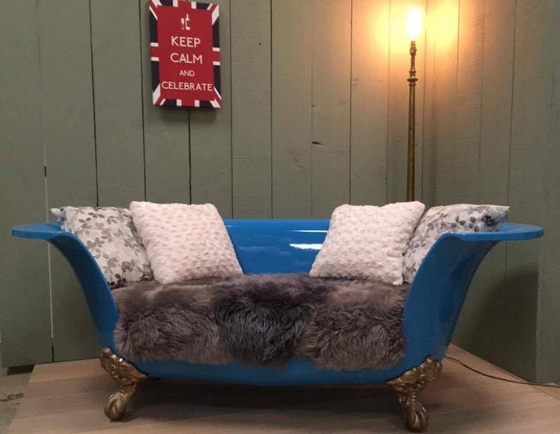 Bath Tub Sofa, U0027The Blue Audryu0027 With Sheepskin Cushion