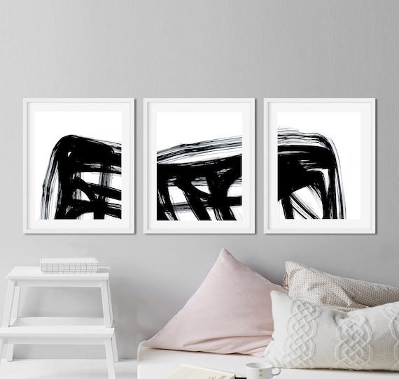 Abstract Printable Art Set Of 3 Prints Black And White Downloadable 3 Piece Wall Art Instant Download Minimal Art Brush Strokes Home Gallery