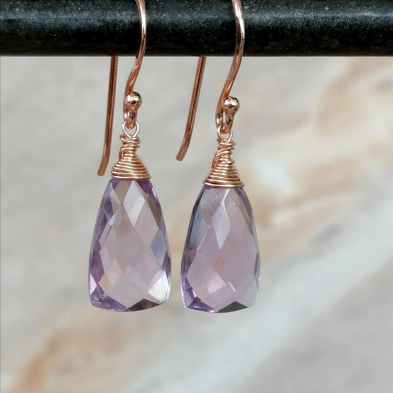 Pink Amethyst Earrings AAA Quality Amethyst Pyramid Drops Wire Wrap Earrings Rose Gold Earrings February Birthstone Gifts For Her
