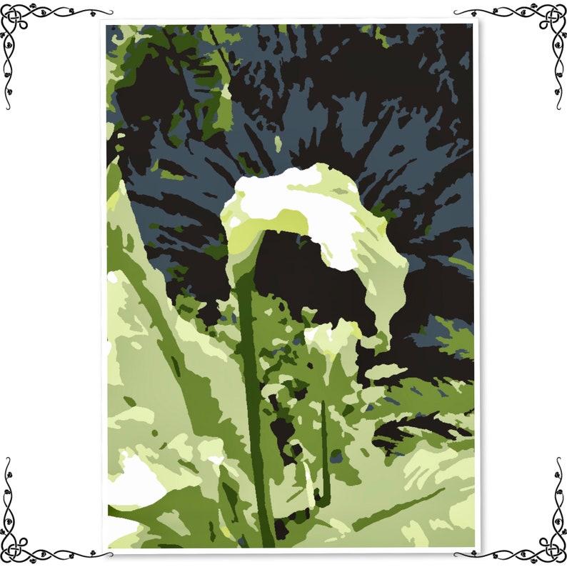 printable,diy art,diy painting,home decor,diy gift, Flower painting by numbers