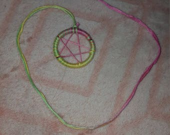 Pink green and yellow pentacle
