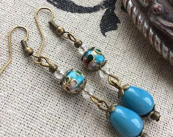 Edwardian inspired cloisonné blue earrings